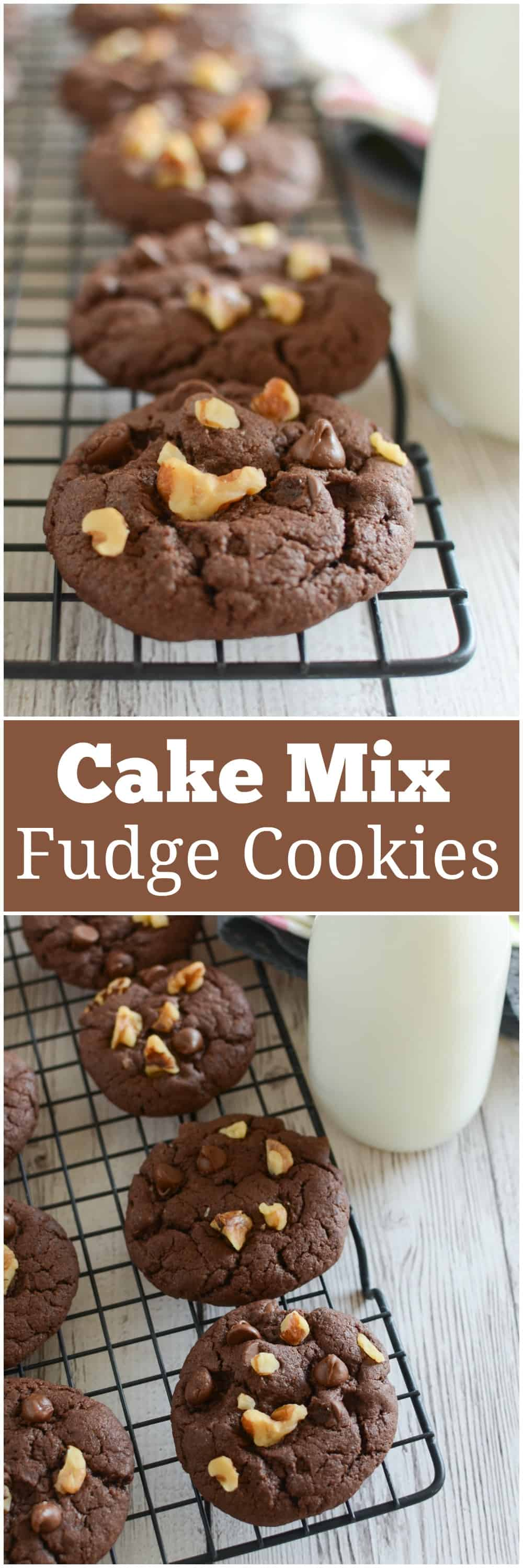 Cake Mix Fudge Cookies - fudge chocolate cookies filled with chocolate chips and walnuts! And they're so easy because they start with a boxed cake mix.