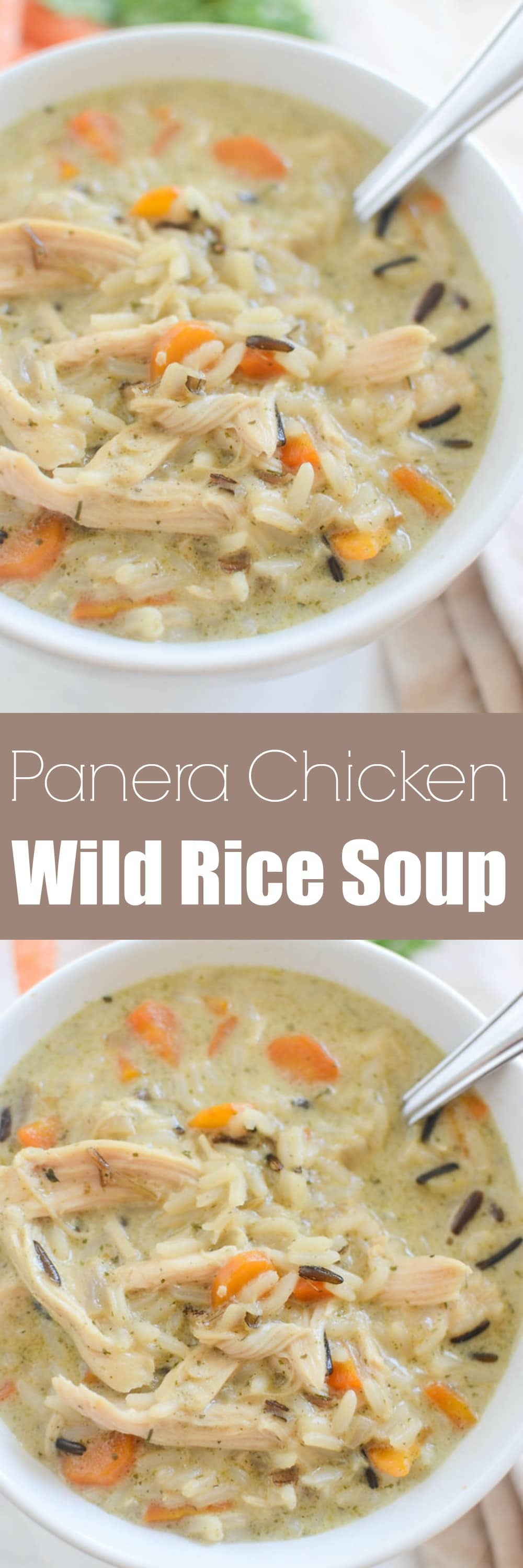 Chicken and Wild Rice Soup - Panera copycat recipe! Creamy soup with wild rice, chicken, and veggies. The whole family will love this recipe and it's so easy!