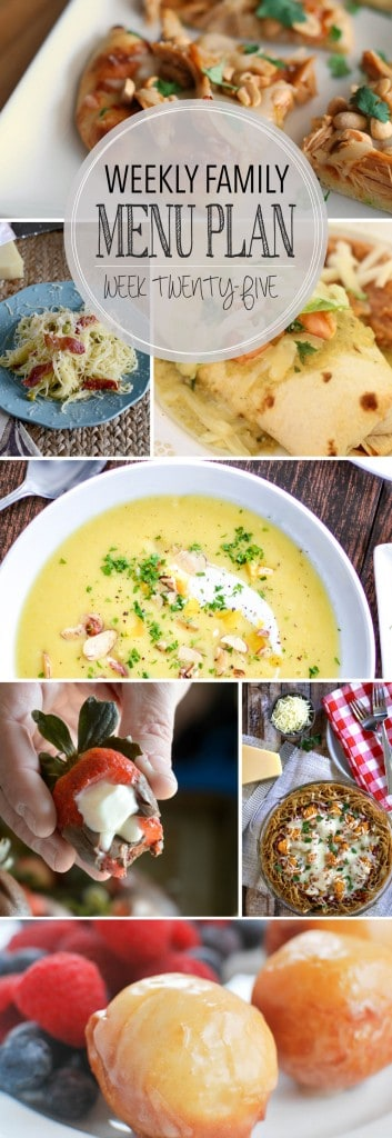 Weekly Family Menu Plan - 5 weeknight dinner recipes, a weekend breakfast, and a yummy dessert!