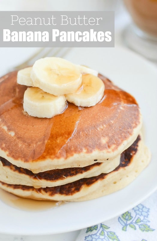 Peanut Butter Banana Pancakes - the most delicious pancakes recipe! Perfect for a relaxing weekend morning or breakfast for dinner.