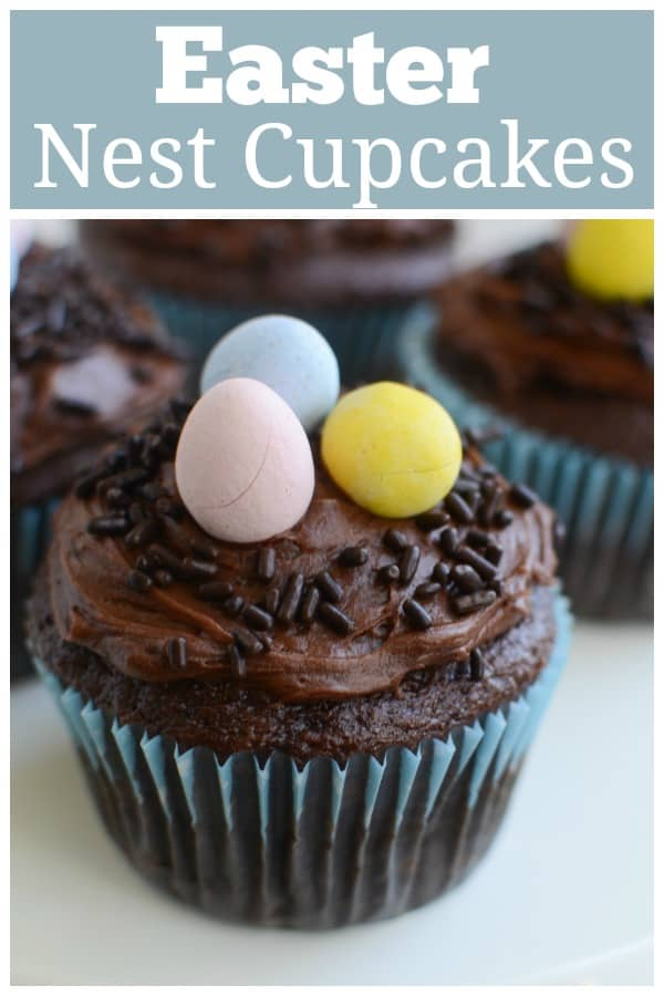Easter Nest Cupcakes - cupcakes topped with a sprinkle nest and egg candies! How cute are these for Easter?! You can use any cake mix and frosting you want.