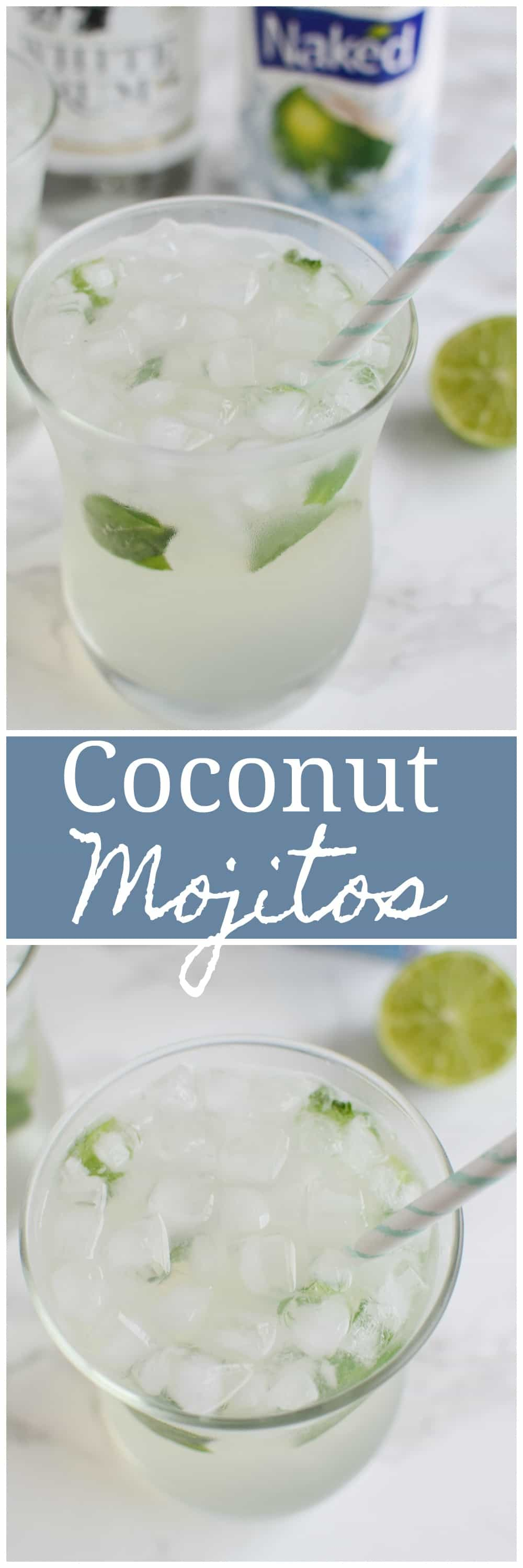 Skinny Coconut Mojito - the ultimate summer drink recipe! Coconut water, rum, limes, and mint! It's low calorie but still so delicious.