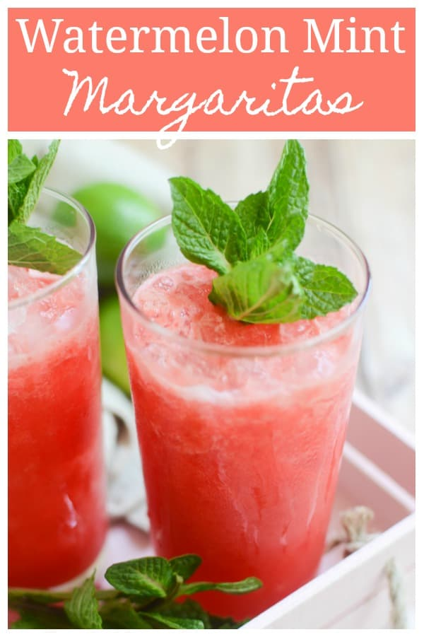 Watermelon Mint Margaritas - the most refreshing summer cocktail! Fresh watrmelon is blended with tequila, lime juice, and an easy homemade mint simple syrup.