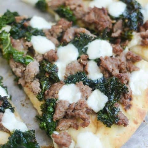 Sausage and Kale Naan Pizza