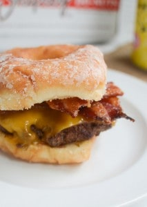Doughnut Burgers with Candied Bacon