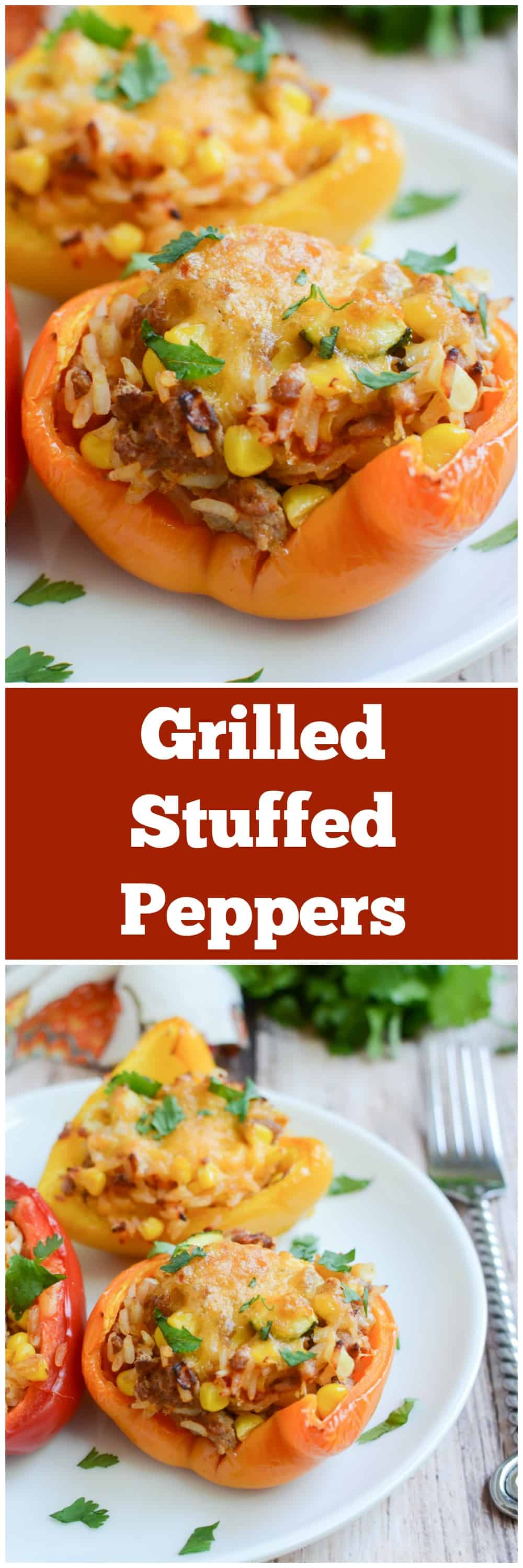Grilled Stuffed Peppers - quick and healthy dinner! Stuffed with ground turkey, rice, fresh corn, and zucchini!