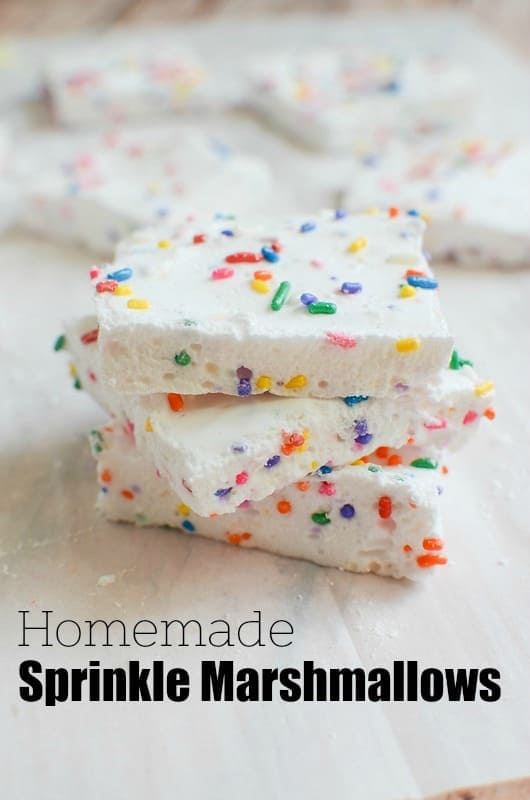 Homemade Sprinkle Marshmallows - easy homemade marshmallow recipe. Only 6 ingredients and so fun for s'mores or hot chocolate!