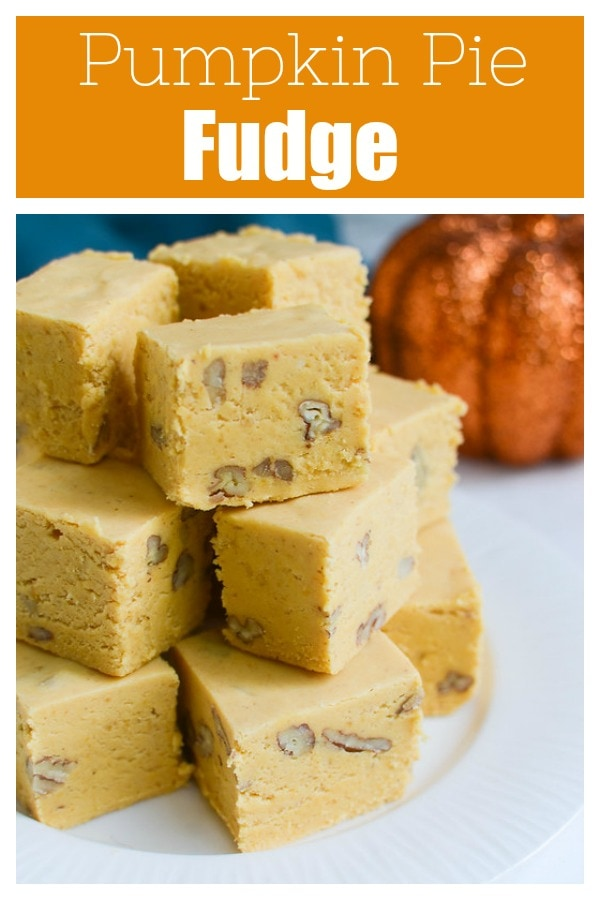 Pumpkin Pie Fudge - the taste of pumpkin pie in delicious fudgy bites! Pumpkin, white chocolate, marshmallows, and walnuts for a bit of crunch! Perfect for cookie tins at the holidays!