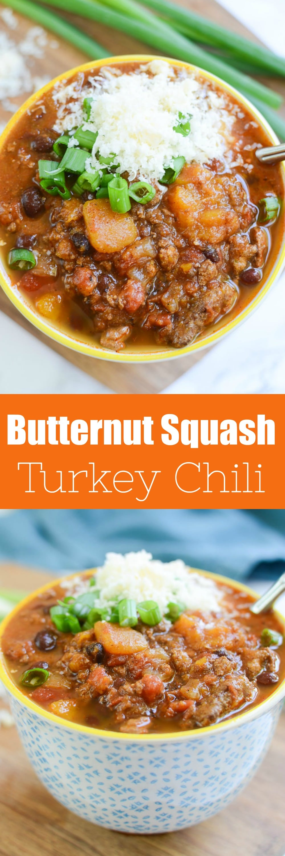 Butternut Squash and Turkey Chili - serious comfort food! Turkey chili filled with butternut squash, black beans, tomatoes, and lots of spices!