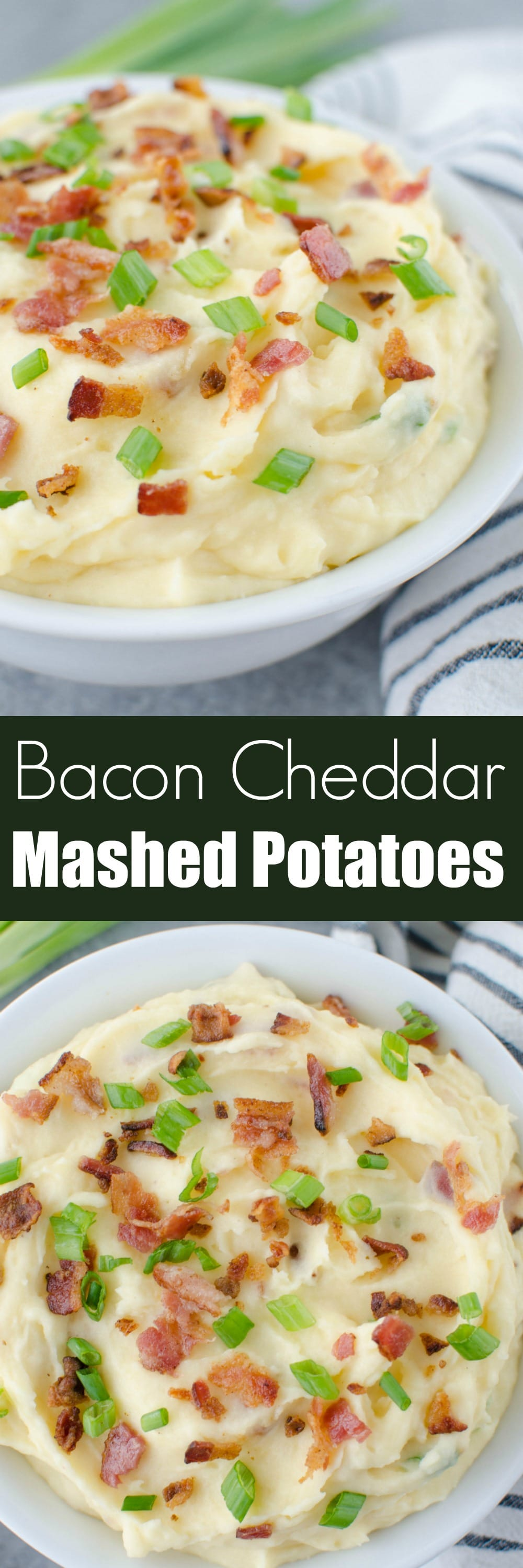 Cheddar and Bacon Mashed Potatoes - the perfect side dish for every meal! These potatoes are loaded with sour cream, cheddar cheese, bacon, and green onions!
