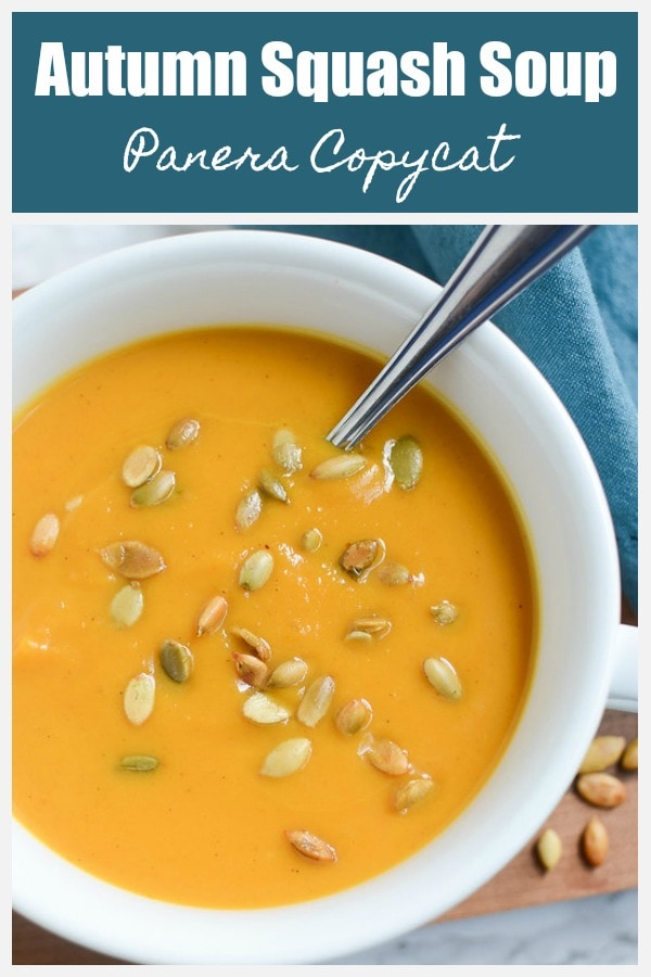 Autumn Squash Soup (Panera Copycat) - this is the best fall soup and so easy! Vegetarian and full of butternut squash and pumpkin!