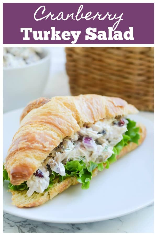 Cranberry Turkey Salad -turkey, red onion, pecans, and dried cranberries in a creamy dressing and served on croissants. A great way to use leftover Thanksgiving turkey!