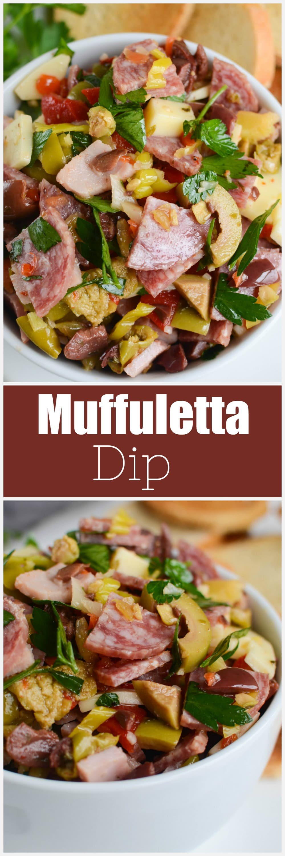 Muffuletta Dip - all the flavors of a delicious muffuletta sandwich in a dip! Olives, roasted red bell pepper, pepperoncini, salami, ham, and provolone cheese all tossed together. Serve on crackers or toasted sliced French bread. Perfect for your Mardi Gras party!