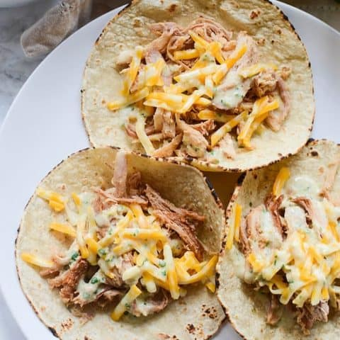 Sweet Pork Tacos with Cilantro Ranch Dressing