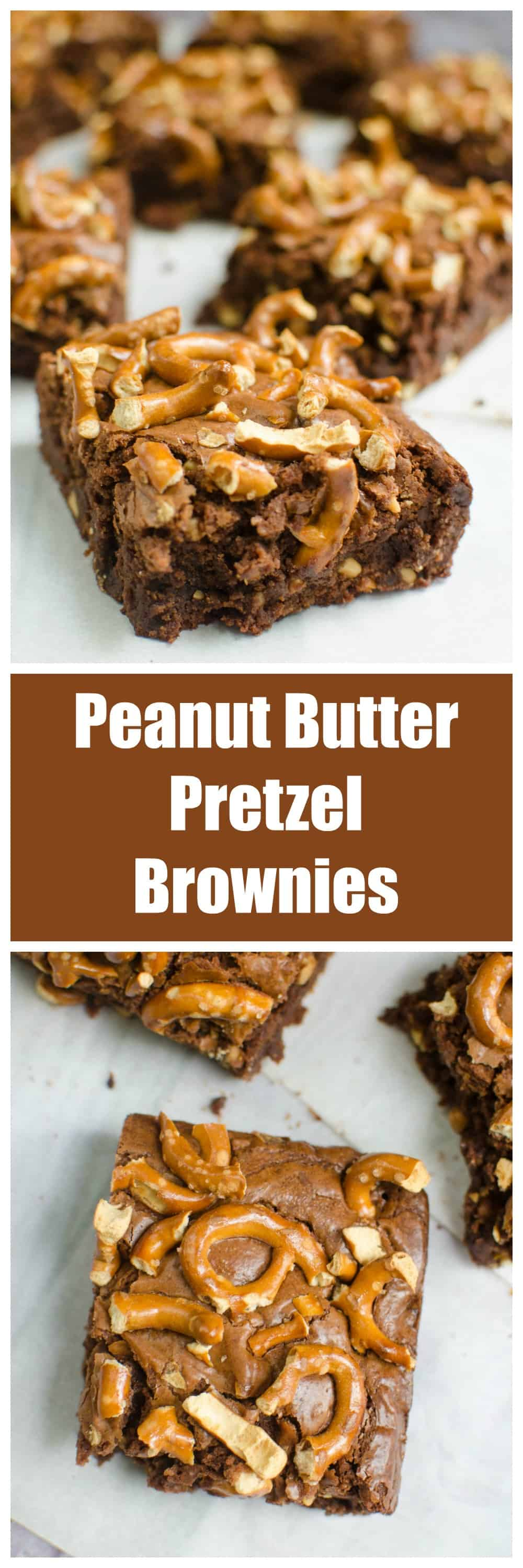Peanut Butter Pretzel Brownies - chewy brownies filled with peanut butter and topped with pretzels. The perfect sweet and salty treat!