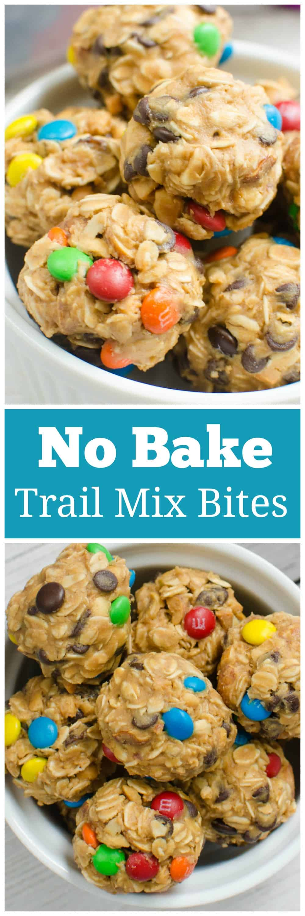 No-Bake Trail Mix Energy Bites - filled with raisins, peanuts, chocolate chips, and M&MS! The perfect quick snack for hiking, beach trips, or school lunches!