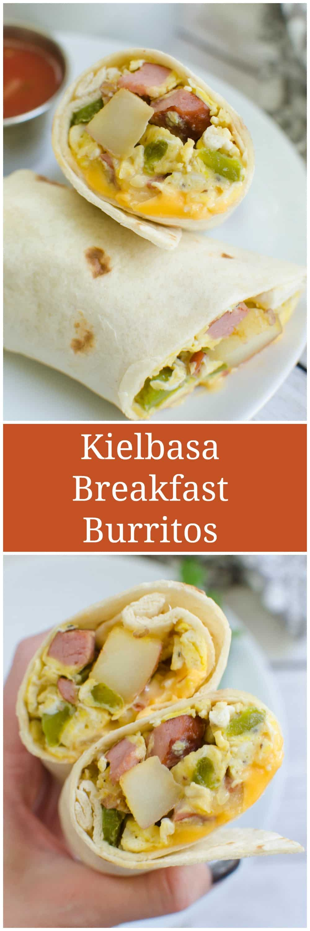 Kielbasa and Potato Breakfast Burritos - easy make ahead breakfast idea! Kielbasa, potatoes, and peppers rolled into tortillas with cheese and eggs.
