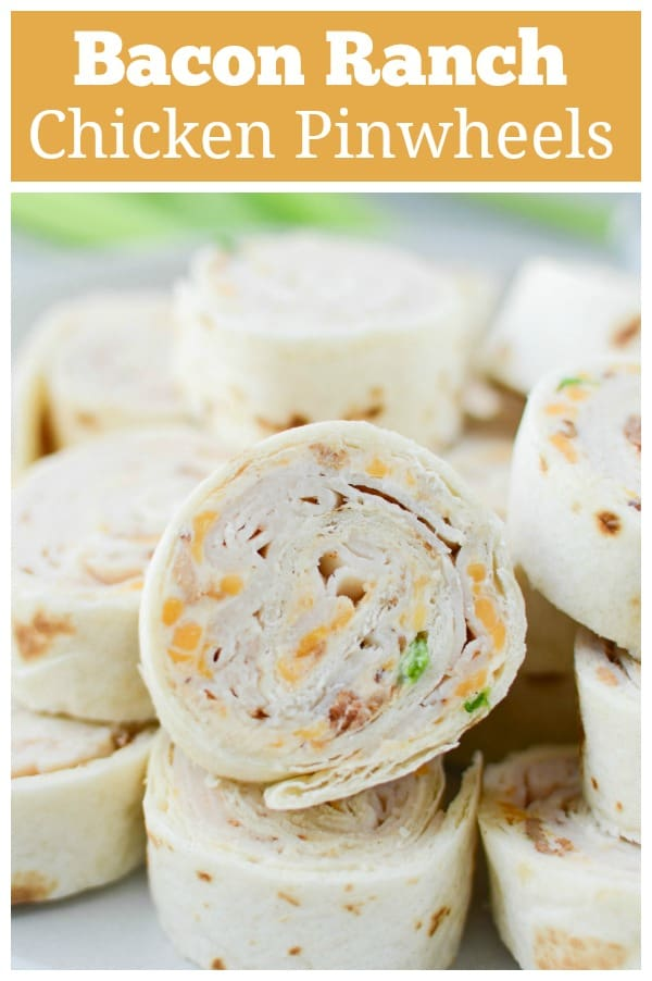 Chicken Bacon Ranch Pinwheels - ranch cream cheese, deli chicken, bacon, cheddar cheese, and green onions are wrapped in a flour tortilla. Slice them up for a delicious kid-friendly lunch!