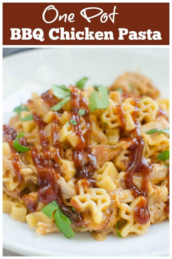 One Pot Cheesy Barbecue Chicken Pasta - easy weeknight dinner recipe and everything your family loves: pasta, bacon, cheese, and barbecue sauce!