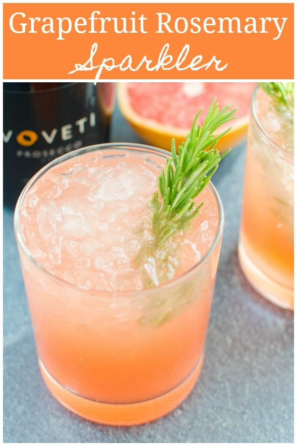 Grapefruit Rosemary Sparkler - the perfect holiday or New Years Eve cocktail! Fresh grapefruit juice, easy homemade rosemary simple syrup, and prosecco.