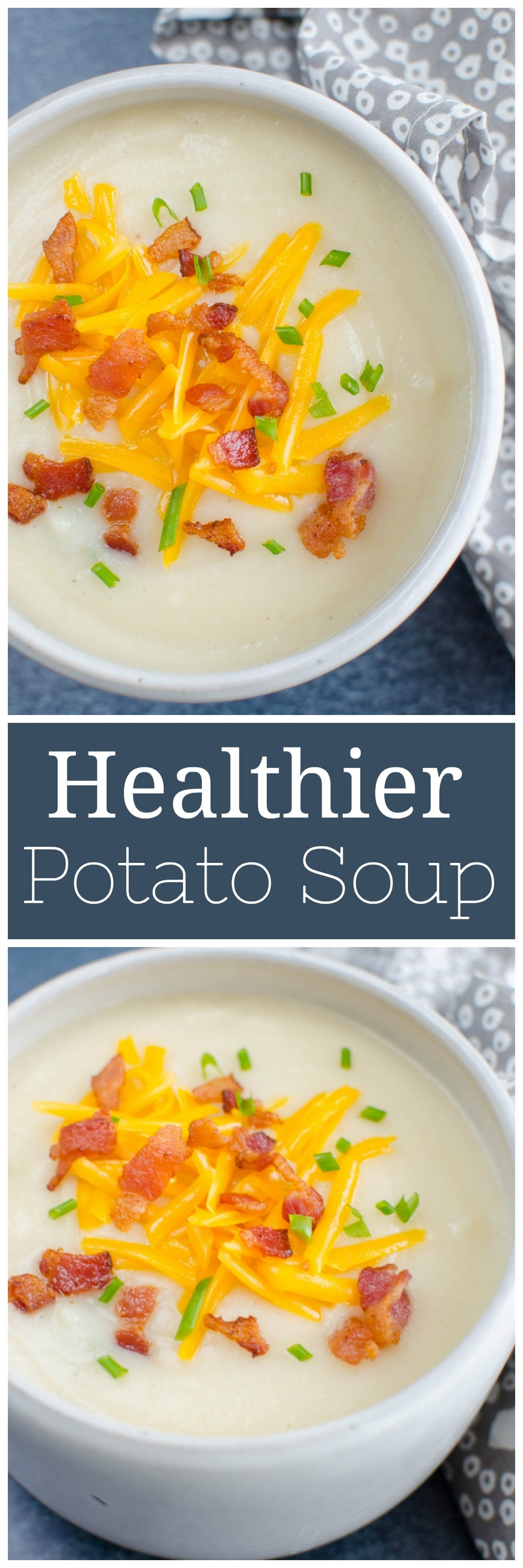 Loaded Baked Potato and Cauliflower Soup - creamy potato and cauliflower soup with bacon, cheddar cheese, and green onions. A lightened up version of baked potato soup!