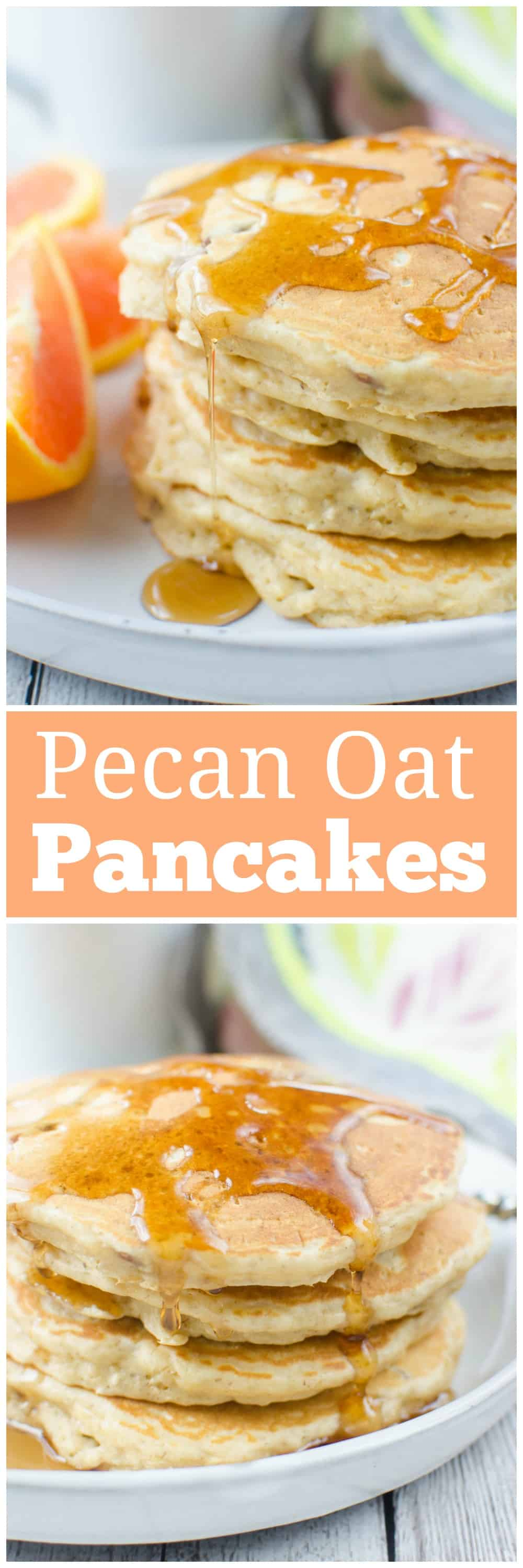 Pecan Oat Pancakes - fluffy pancakes filled with pecans and oats! Delicious, hearty breakfast recipe!