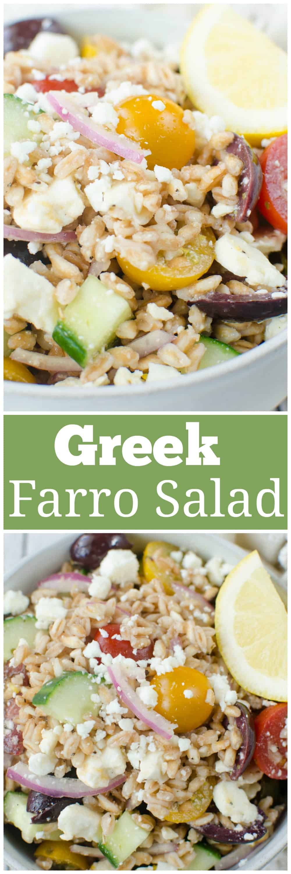 Greek Farro Salad - farro, cucumber, tomatoes, kalamata olives, red onion and feta cheese tossed in a light lemony dressing. Perfect healthy lunch or meal prep recipe!