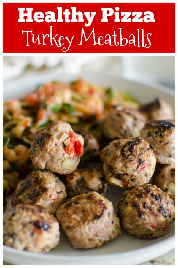 Paleo Pizza Turkey Meatballs - easy, flavorful, and full of veggies! Serve with zucchini noodles and paleo-friendly pasta sauce for a quick, comforting dinner.
