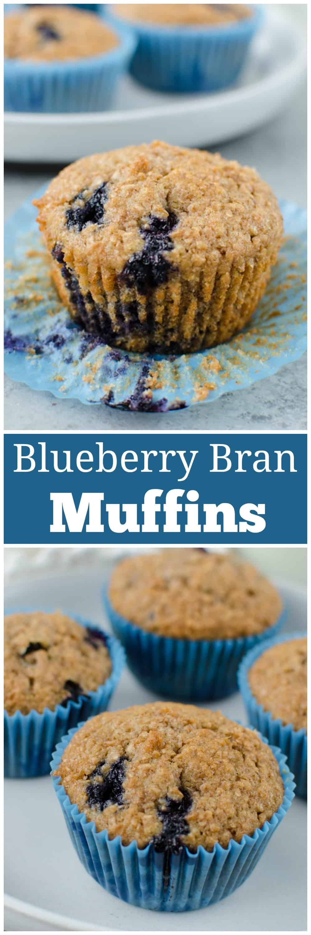 Blueberry Bran Muffins - healthy and hearty muffins made with Greek yogurt, wheat bran, and fresh blueberries. Great for breakfast meal prep!