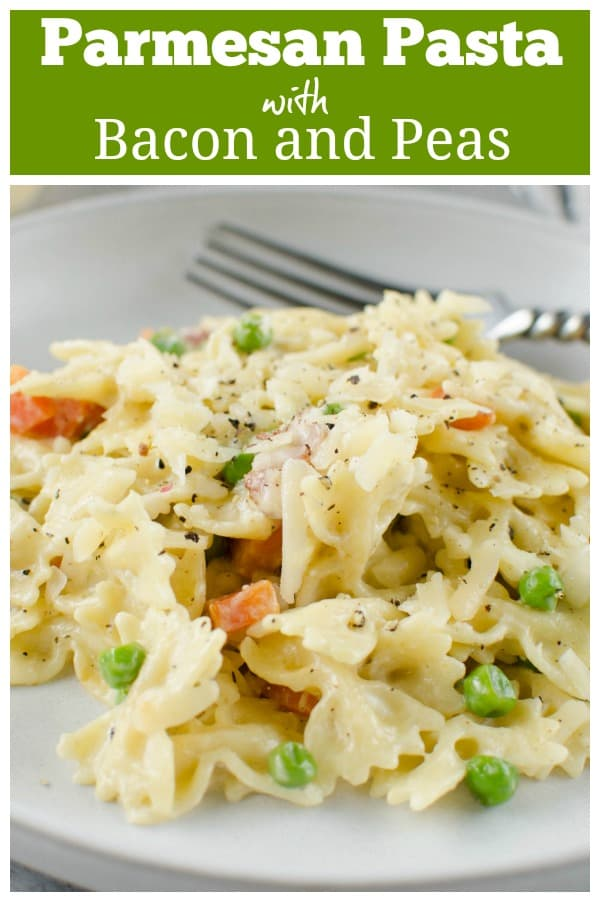 Parmesan Pasta with Bacon and Peas - easy 30 minute weeknight meal! Creamy cheesy pasta with bacon, peas, and carrots. A great way to get picky eaters to eat veggies!