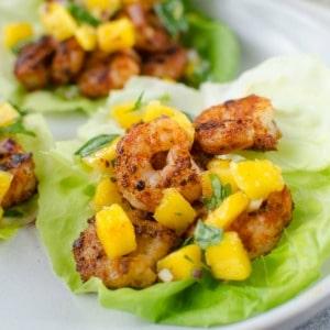 Blackened Shrimp Lettuce Wraps with Mango Salsa – Paleo