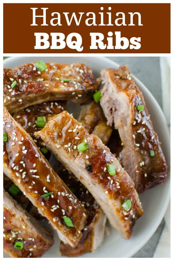 Hawaiian BBQ Ribs - oven baked ribs with a sweet and spicy Hawaiian-inspired sauce. They are so tender and delicious!