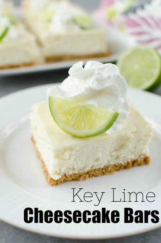 Key Lime Cheesecake Bars - creamy cheesecake bars filled with key lime juice and fresh lime zest on a graham cracker crust.
