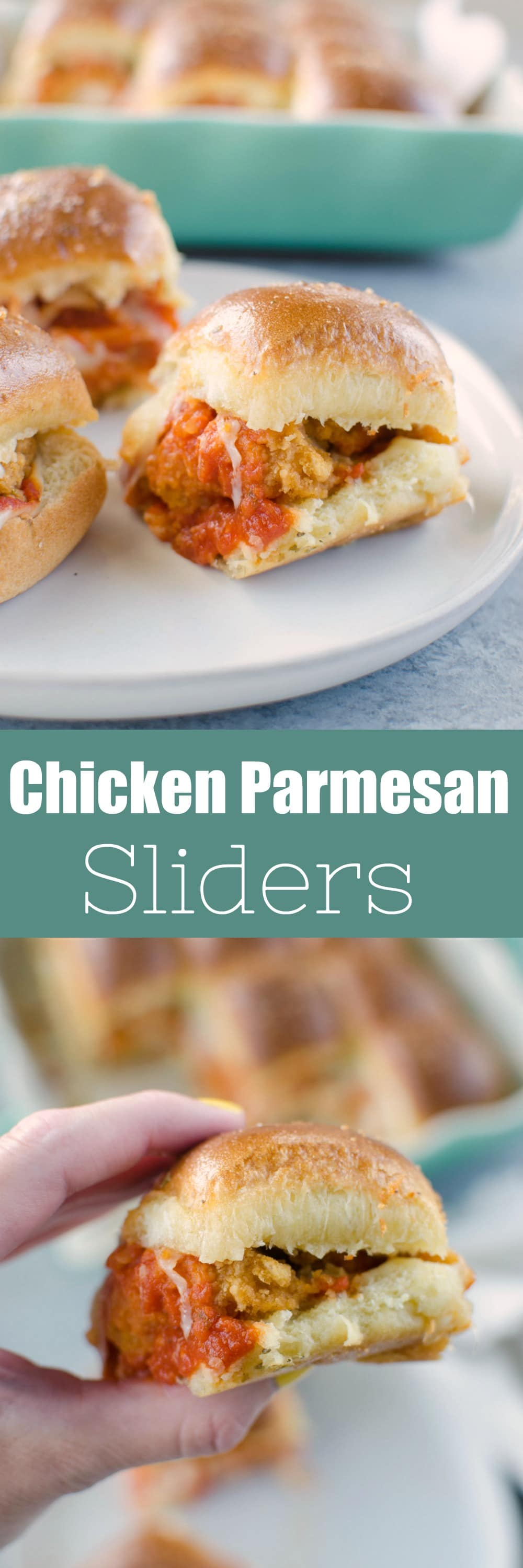 Chicken Parmesan Sliders - hawaiian rolls layered with crispy chicken strips, marinara, 2 kinds of cheeses, and topped with a garlicky butter glaze! Easy weeknight dinner or perfect for a party.