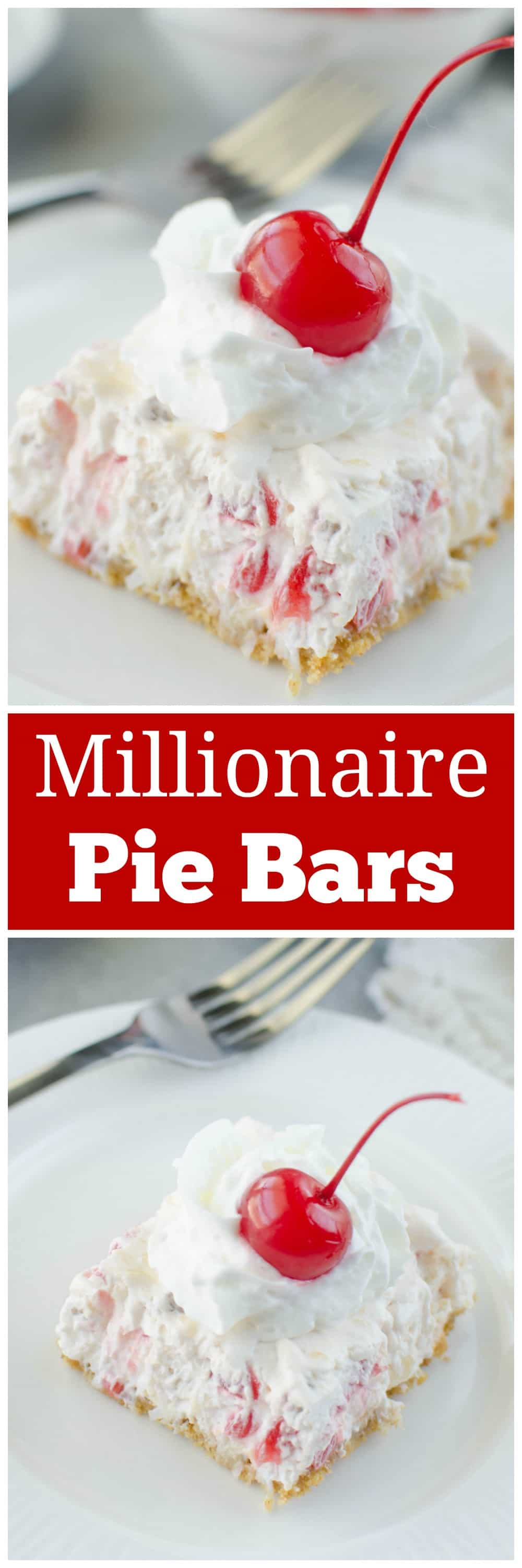 No Bake Million Dollar Pie Bars - sweet creamy bars filled with pineapple, maraschino cherries, coconut and pecans! They are so delicious and so easy!