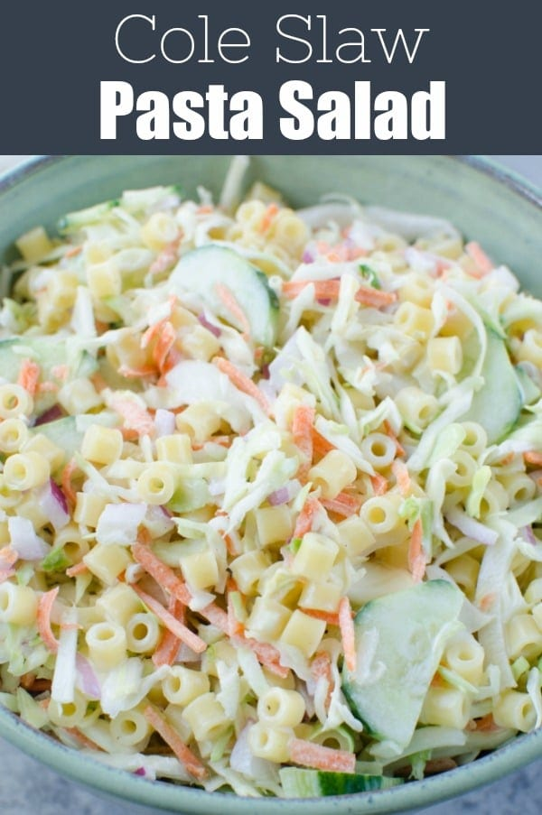 Cole Slaw Pasta Salad - two delicious side dishes in one! Pasta, cole slaw mix, red onion, and sliced cucumber in a creamy sweet and tangy dressing. Perfect for barbecues and potlucks!
