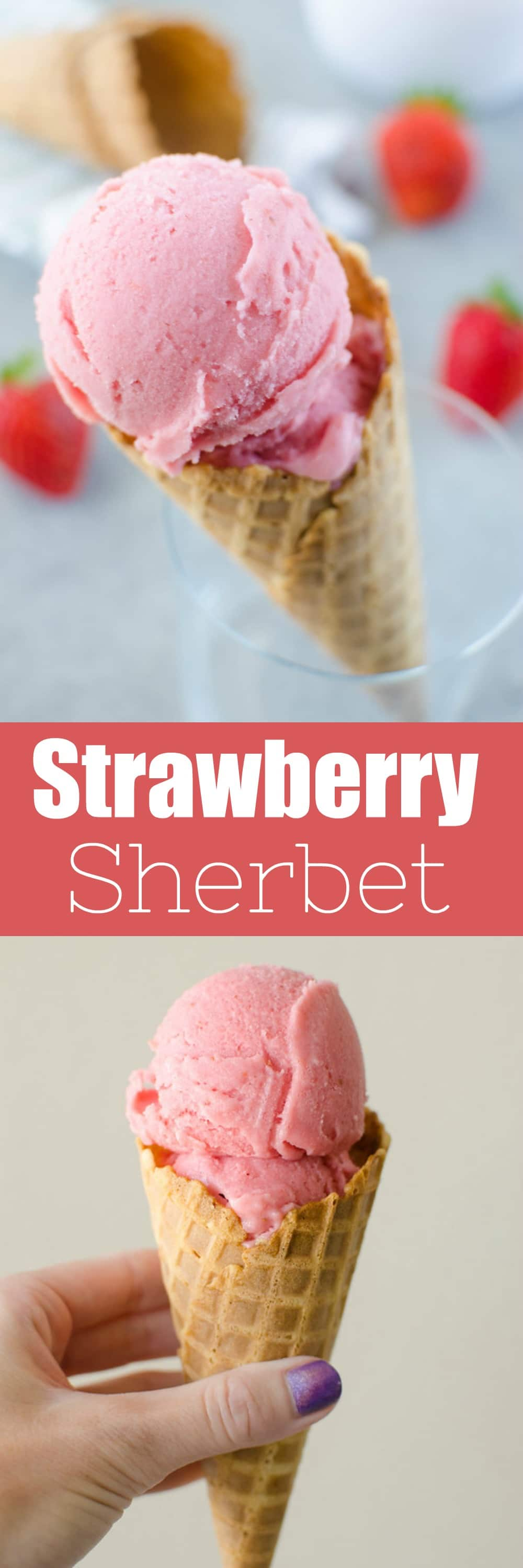 Homemade Strawberry Sherbet - you will never buy store-bought sherbet after trying this recipe! Sweet, creamy, and the perfect summer treat. So easy and only 4 ingredients!