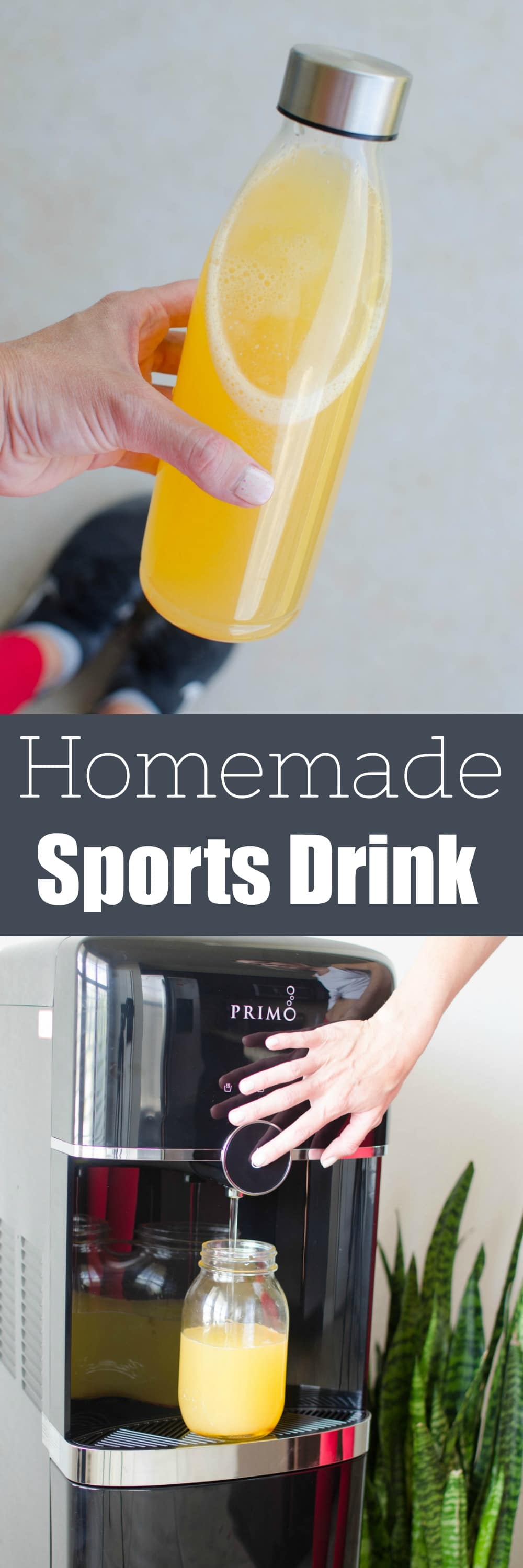 Homemade Sports Drink - skip the store-bought (and the single use plastic bottles!) and make your own sports drink with purified water, fresh orange juice, lemon juice, honey, and pink Himalayan salt.