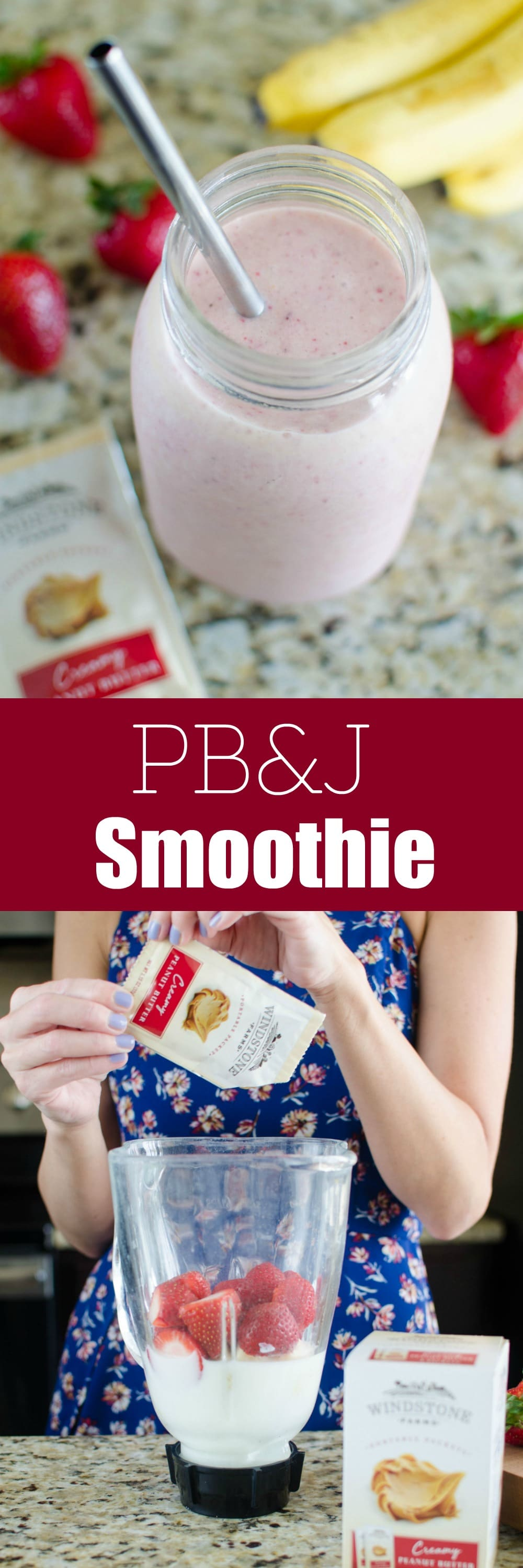 PB&J Smoothie - the classic peanut butter and jelly as a healthy smoothie! Fresh banana, strawberries, milk, and peanut butter make a delicious, protein packed breakfast or snack!