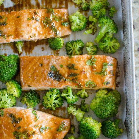 Asian-Glazed Sheet Pan Salmon and Broccoli
