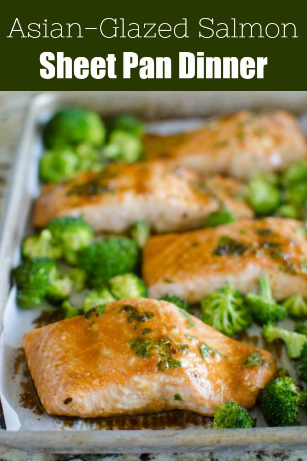 Asian-Glazed Sheet-Pan Salmon and Broccoli - easy 30 minute weeknight dinner. Salmon with a sweet and spicy glazed with roasted broccoli - all cooked on the same pan!