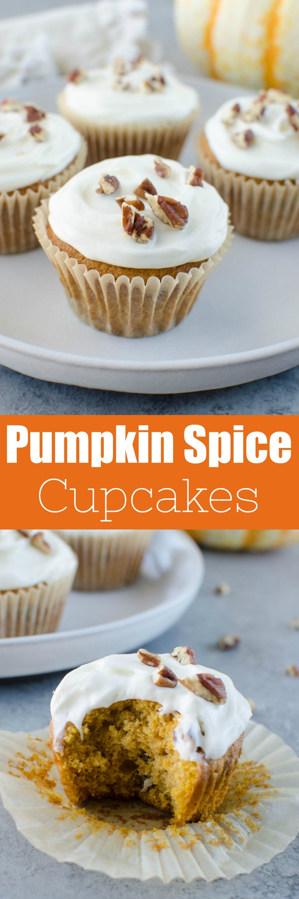 Pumpkin Spice Cupcakes - moist pumpkin cupcakes with pecans and raisins and topped with cream cheese frosting!