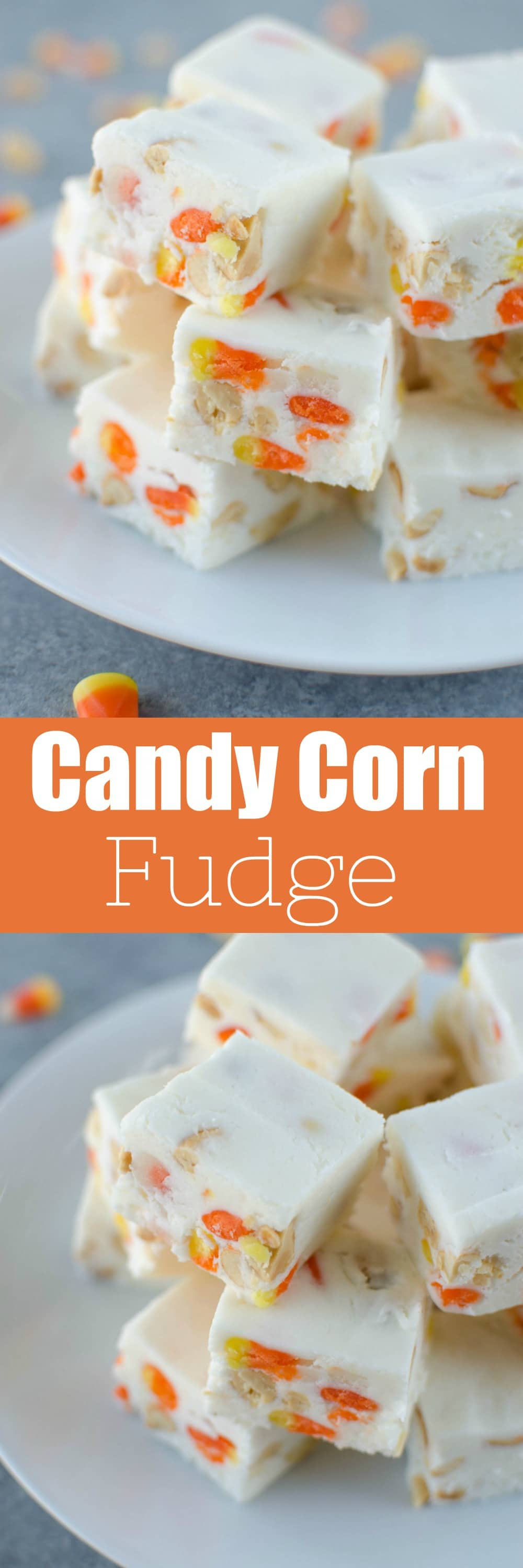 Candy Corn Fudge - white chocolate fudge with mini candy corn and salted peanuts. The perfect sweet and salty treat for Halloween!