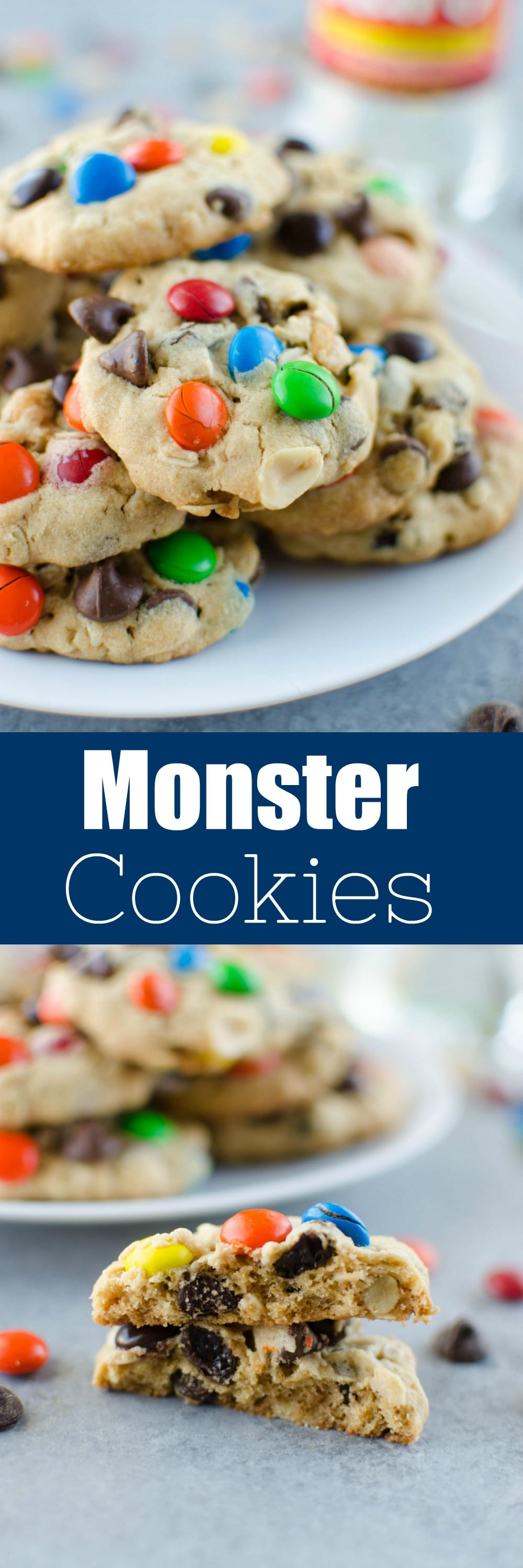 Chewy Monster Cookies - soft and chewy peanut butter cookies filled with oats, chocolate chips, peanuts, raisins, and M&Ms!