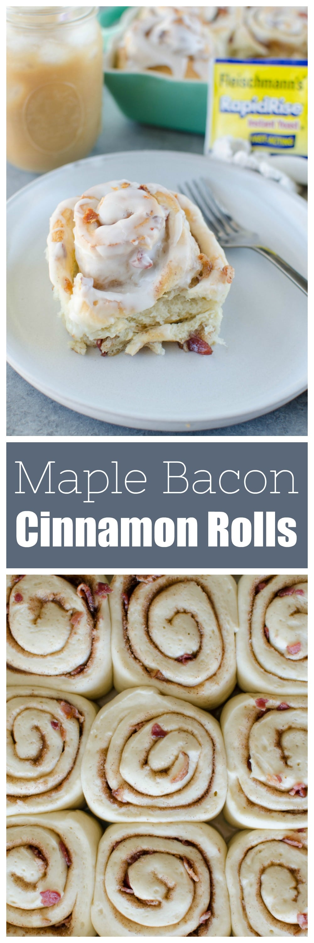 Maple Bacon Cinnamon Rolls - easy cinnamon roll dough filled with cinnamon sugar, maple syrup, and crispy bacon. Topped with frosting and more bacon! The perfect sweet and salty treat!