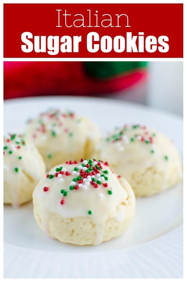 Italian Sugar Cookies - soft lemon sugar cookies with a lemony glaze and sprinkles on top! These are a Christmas favorite and are so cute in cookie tins.