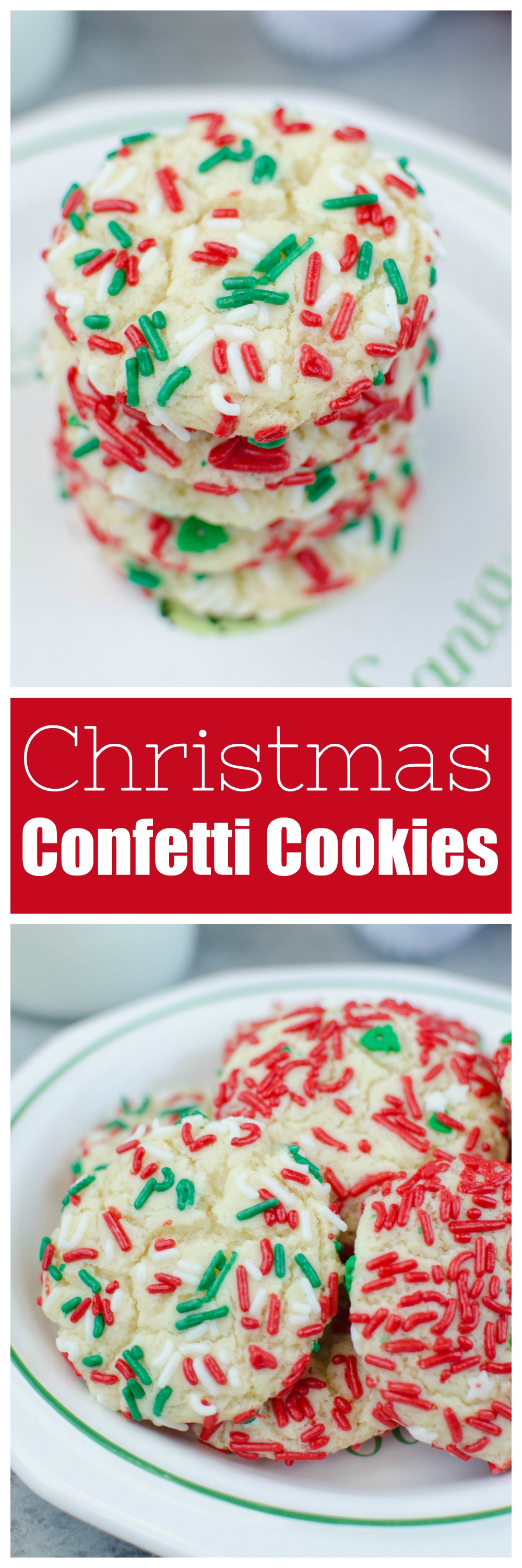 Christmas Confetti Cookies - soft and chewy sugar cookies rolled in Christmas sprinkles. Santa is going to love these cookies!