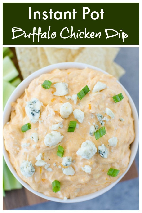 Instant Pot Buffalo Chicken Dip - creamy, spicy dip filled with buffalo sauce, ranch dressing, and shredded chicken! Made in 15 minutes in the pressure cooker. Serve with chips and celery sticks for the perfect party appetizer!