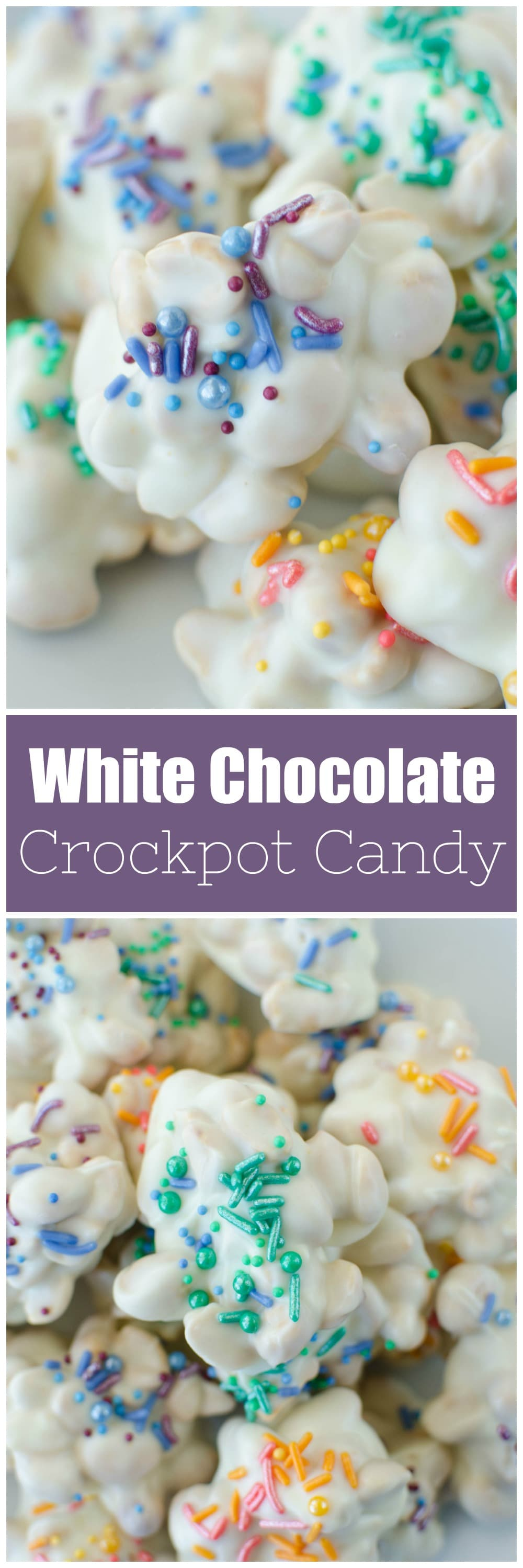 White Chocolate Crockpot Candy - easy 4 ingredient white chocolate peanut clusters! Made completely in the slow cooker. Perfect for holidays!