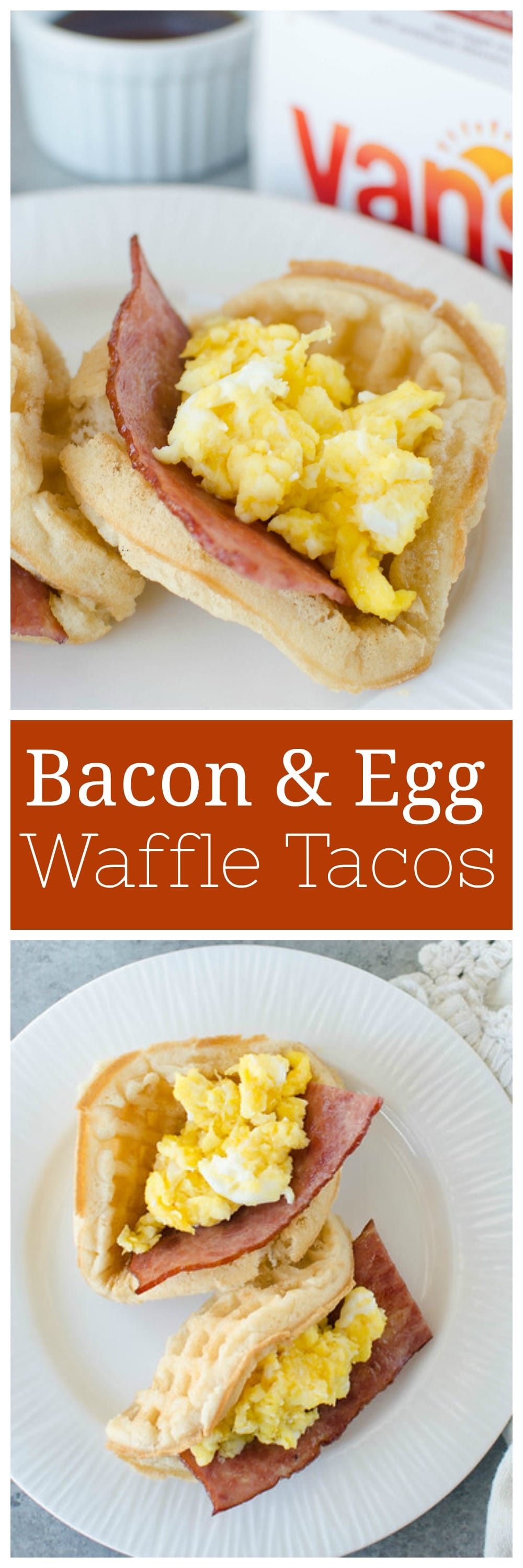 Bacon and Egg Breakfast Tacos - cheesy eggs and crispy bacon stuffed into a waffle and drizzled with maple syrup! An easy and fun breakfast.